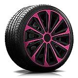 15 Zoll RKK06 Multi-Color Line (Schwarz-Pink) Radkappen/Radzierblenden 4 Stück