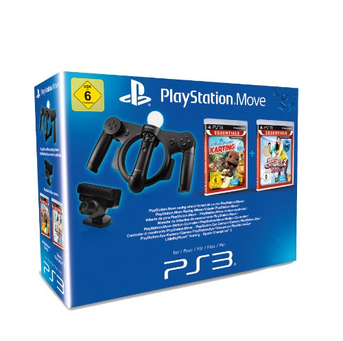 Little Big Planet Karting (Essentials) + Sports Champions 2 (Essentials) + Move Racing Wheel + Move Starter Pack - [PlayStation 3]