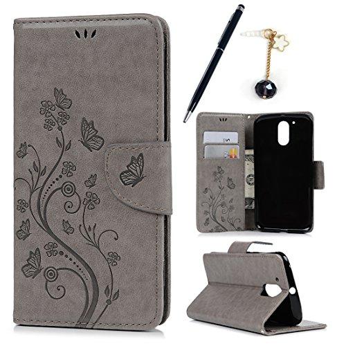 MAXFE.CO Leder Tasche Case Cover für Motorola Moto G4 Plus Hülle PU Schutz Etui Schale Blau Muster Geschnitzte Design Backcover Flip Cover Wallet mit Standfunktion Karteneinschub und Etui