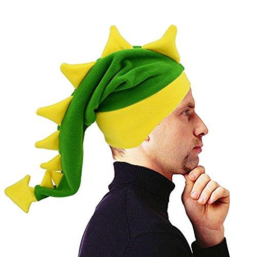Geekbuzz Lustige dumme Drachen-Endstück-Hüte Neuheit-Abendkleid-Kostüme Nachtkappen für schlafende verrückte Partei-Kopfbedeckung für Erwachsene Kinder (groß, grün)