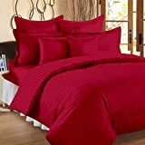 Ahmedabad Cotton 165 TC Sateen Bedsheet with 2 Pillow Covers - Striped, King Size, Maroon