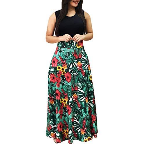 Momoxi vestito abito cerimonia da donna, estivo da donna con maniche lunghe con stampa floreale senza maniche confortevole, sexy, affascinante, economica, bella gonna
