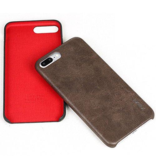 """MOONCASE iPhone 7 Plus Hülle, Jahrgang Prämie PU Leder Hart PC Handy Schutz Tasche Schutzhülle Case für iPhone 7 Plus 5.5"""" Rot Rot"""