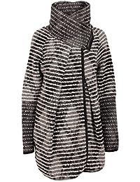 Moda Italy Damen Wollmantel Herbstmantel Kurzmantel Freizeit Oversized  Wickelkragen Reißverschluss Streifen Muster Bunt 85c4810f33