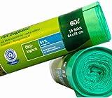 Secolan 2039917 Mlleimerbeutel, mit Zugband, grn, 60 Liter