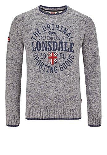 Lonsdale Mens Sweater Borden Light Grey