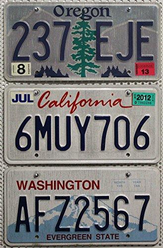 3 USA Nummernschilder als SET mit den Kennzeichen der US-Staaten an der Westküste : CALIFORNIA ~ OREGON ~ WASHINGTON # Blechschilder / KFZ Schilder / License Plates Lot