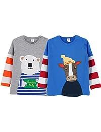 Mnizone Camisetas de Manga Larga Bebé Sudaderas Sweat-Shirt Niños Niñas Algodón T-shirt, Paquete de 2