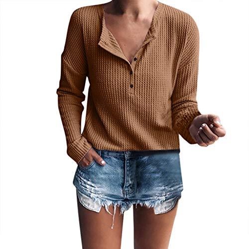 Zegeey Damen Langarmshirts T-Shirt Tops Pullover Einfarbig V-Ausschnitt SchaltfläChen Lose Bluse Hemd SchaltfläChen Pulli Strickwaren Shirt Grundiert Stretch Oberteil Sweatshirt (Kaffee,S)