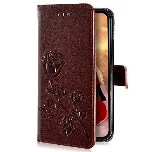 Uposao Kompatibel mit Samsung Galaxy S9 Hülle Handyhülle Retro Luxus Rose Blumen Muster Klapphülle Flip Case Cover Schutzhülle Leder Hülle Brieftasche Tasche Kartenfächer Magnet,Braun