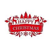 Año 2019 Feliz Navidad Pegatina de Pared Familia Clase Fiesta Fiesta Tema de Navidad Pegatinas de Pared/Pegatina de Pared de Vidrio (Blanco)