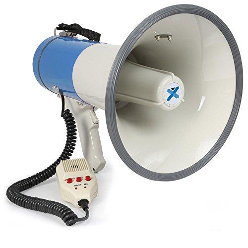 Vexus MEG060 Lautstarker Megafon-Lautsprecher mit Aufnahme-Funktion (Sirene, MP3-fahiger USB-Slot, SD-Kartenslot, AUX, 60 Watt, inkl. Gurt) blau-weiß