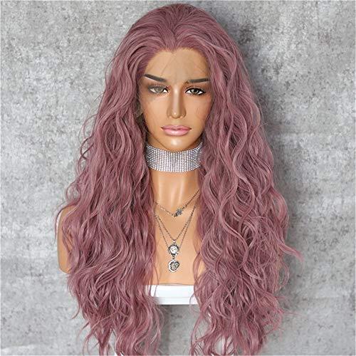 e lockige Welle hitzebeständige Haare Frauen Make-up Hochzeitsfest Geschenk synthetische Spitze vorne täglich Perücken,Pink ()