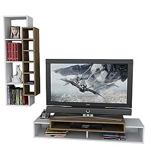 dekorister 8680782053146First Meuble TV Support, particules mélaminés, 45x 150x 160cm blanc Couleur Noyer