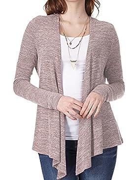 Las Mujeres Long Sleeve Cardigan Corta Volantes Lightweight Knit Sweater