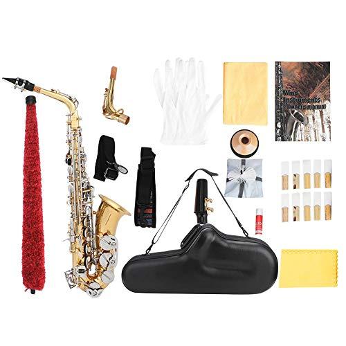 old Messing Eb Saxophon Größer Trompete Mund Abalone Shell Key Carve mit PU Koffer Reinigungstuch Kits ()