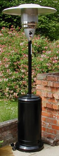 Castmaster Luxury Gas Patio Heater - FREE Regulator & Hose, Wheel kit - Cover and ground anchors - Black powder coated finish.