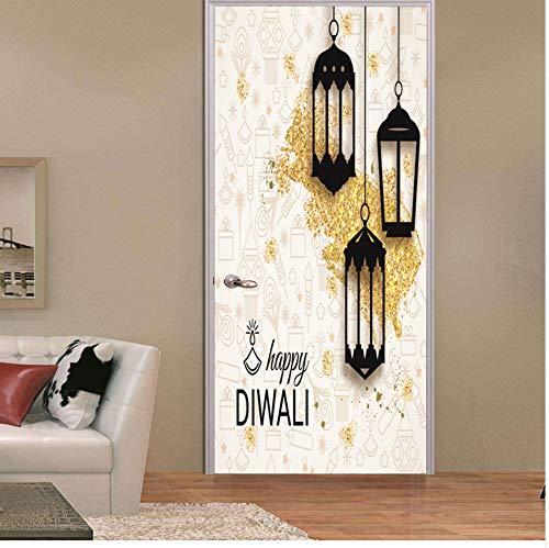 Laterne Allah Wandaufkleber Islamische Moslemische Dekorative Aufkleber Tragbare Fenster Wasserdichte Aufkleber Großhandel 77x200 cm Türaufkleber