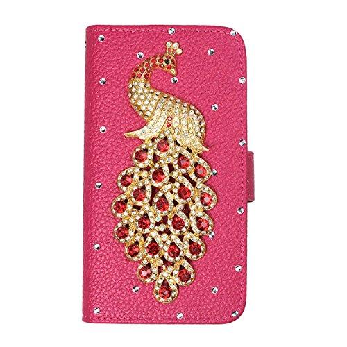 xhorizon® Auffälliger Glänzender Strass Kristall Pfau Krone DIY [Rosa-Rot] Leder Tasche Geldbeutel Stand Decke Case Hülle iPhone 5C mit einer Reinigungstuch Rot Pfau