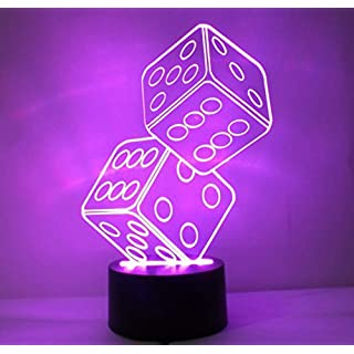 Alisabler Optical Illusion 3D Dice Lighting,3D Glow LED Lamp - Produces Unique Lighting Effects and 3D visualization - Amazing Optical Illusion