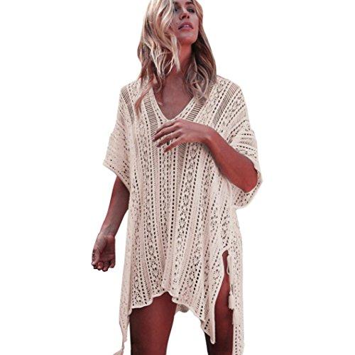 OVERDOSE Frauen Baden Beach Cover Up Kleid Bikini Badeanzug Bademode Crochet Smock(Beige,Freie Größe