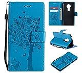 CMID Moto E5 Hülle, Moto G6 Play Hülle, PU Leder Brieftasche Handytasche Flip Bookcase Schutzhülle Cover [Ständer][Handschlaufe] für Motorola Moto E5 / Moto G6 Play (A-Blau)
