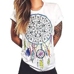 Talla M - T-Shirt - Camiseta - Atrapasueños - Adulto - Mujer - Hombre - Unisex - Color Blanco - Plumas de atrapasueños Símbolo Espiritual de la Mandala - Idea de Regalo