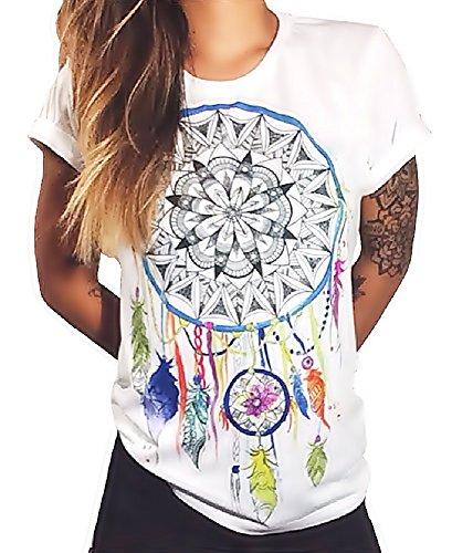 Talla L - T-Shirt - Camiseta - Atrapasueños - Adulto - Mujer - Hombre - Unisex - Color Blanco - Plumas de atrapasueños Símbolo de la Mandala Espiritual - Idea de Regalo