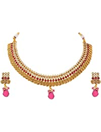 JFL - Radiant Rani Designer One Gram Gold Plated Necklace Set With Diamond For Girl & Women