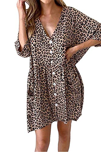 Sommerkleider Damen Casual Lose Basic T Shirt Kleid Kurzarm Elegant Blusen Mini Kleid V-Ausschnitt (Medium, Khaki Leopard) - Khaki T-shirt Kleid