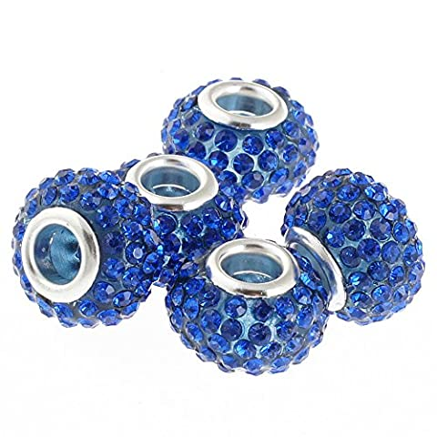 Rubyca gros trous 15mm cristal Charm perle pour bracelet charms européens, bleu marine, 100 PCS