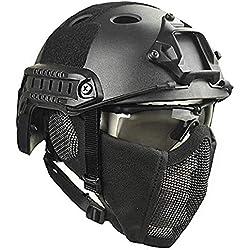 DZLXY Casco táctico Airsoft Paintball Tiro Casco Protector Militar CS Casco de Campo y máscara de Malla de Acero, Unisex,Black