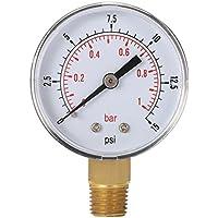 Leoboone Mini Medidor de Baja presión para Combustible, Aire, Aceite o Agua 50 mm 0-15 PSI 0-1 Bar 1/4 Pulgada BSPT TS-50 Medidor de Doble Escala