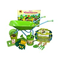 Little Pals Childrens Wheelbarrow & Gardening Tool Set with Watering Can, Gloves, Trowel and Fork, Kneeler in Carry Bag