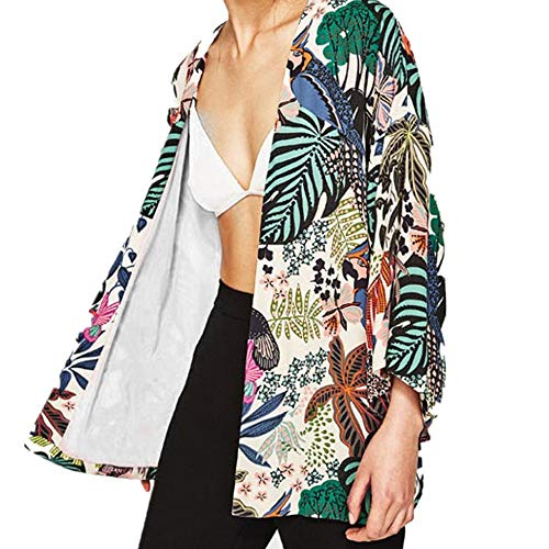 Double Wrap Bluse (MOSE S.E New Cardigan Bedruckt Bluse für Frauen, Frauen Floral Chiffon Kimono Oversized mit Fransen Schals Wraps (Multicolor, S))