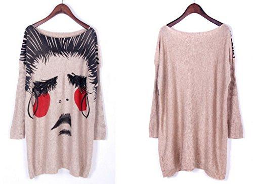 Bigood Pull Manche Chauve-souris Femme sweat-shirt Grande Taille Col Rond Motif Personne Chic Abricot