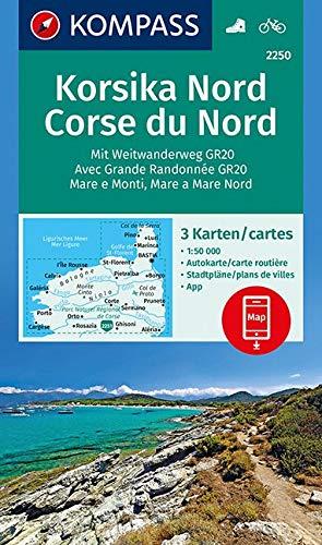 KOMPASS Wanderkarte Korsika Nord, Corse du Nord, Weitwanderweg GR20: 3 Wanderkarten 1:50000 im Set inklusive Karte zur offline Verwendung in der ... (KOMPASS-Wanderkarten, Band 2250) -