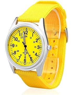 City Damen Matt Silber Fall Gelb Zifferblatt Quarz Nylon Stoff Band Fashion Armbanduhr