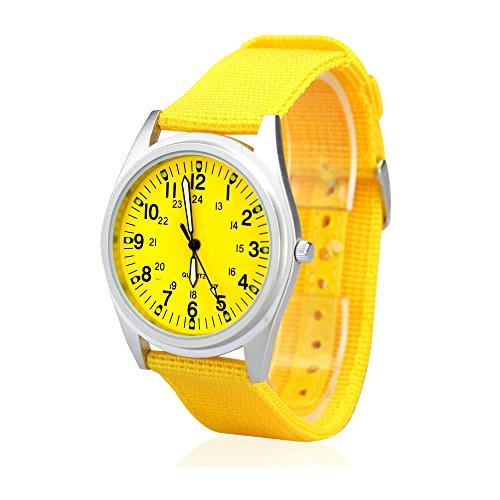 Ville Femme Argent mat cas bande de tissu en nylon jaune Cadran Quartz Fashion Montre bracelet