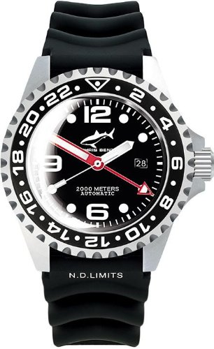 Chris Benz Deep 2000m Automatic GMT Bubble CB-2000A-D2-KB Automatic Mens Watch Diving Watch