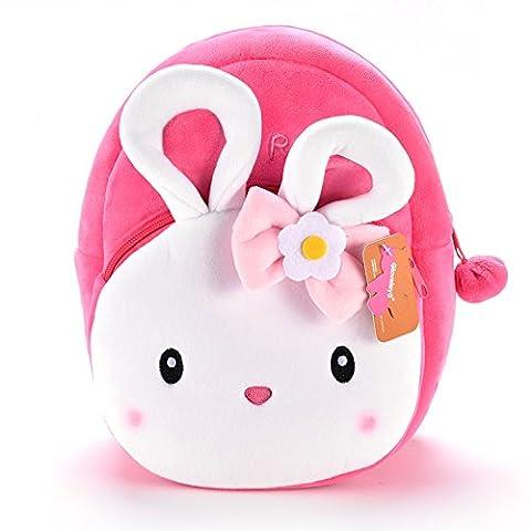 Gloveleya Children's Backpack Baby Toddler Kids Cartoon Rabbit Plush Bunny Pink Bag
