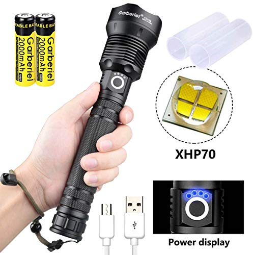 ShineTool Starkes Licht LED Taschenlampen, 3500LM XHP70 Hoch Leistungs Wasserdichte USB Taschenlampen mit Akku und USB Kabel, 3 Modi mit Leistungsanzeige Funktion für Camping, Wandern, Notfall