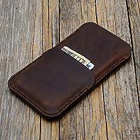 Marrone custodia a guscio per iPhone 8, 7, 6/6s in cuoio con 1 porta carta di credito e banconote verticale portacellulare cover case caso