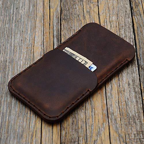 Braunes Leder Tasche für iPhone 8. 7. 6/6s. Hülle Etui Cover Case Handyschale Gehäuse Ledertasche Lederetui Lederhülle Handytasche Handysocke Handyhülle Schale Socke