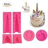 Tumao 6 Stk Rosa Einhorn Silikonform, DIY Schokolade Form, 3D Pegasus Einhorn Kuchenform Seife Form, Obstkuchenform aus Silikon mit Antihafteigenschaft,Eiswürfelform,Geburtstagskuchen Deko.