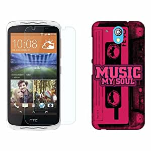 Printland Tempered Glass + Back Cover Combo For HTC Desire 526G Plus