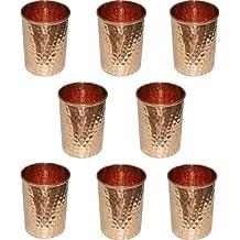 Bere bicchieri ware set di prodotti ayurveda marrone bicchiere rame puro per la guarigione, set di 8, altezza 9,5 centimetri