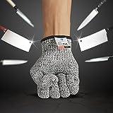 BelleStyle Schnittschutzhandschuhe, High Performance Level 5 Schutz Cut Proof Handschuhe, Küche Lebensmittelsicherheit Handschuhe (L)