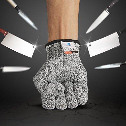 BelleStyle Schnittschutzhandschuhe, High Performance Level 5 Schutz Cut Proof Handschuhe, Küche Lebensmittelsicherheit Handschuhe (M)