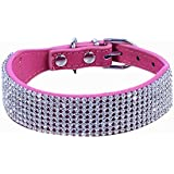 LianLe Adjustable Bling Diamante Rhinestone Crystal Pet Puppy Cat Dog Collar PU Leather